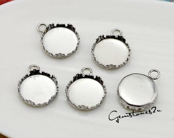 Stainless SteelCrown Edged 12mm Round Bezel Cup, Round Bezel Pendant Trays Setting Blanks, Cabochon Setting Wholesale Pendant Base