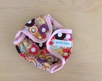 Newborn waterproof PUL cloth diaper cover - prettiest donuts