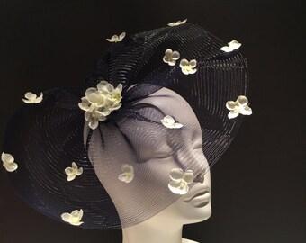 Navy Fascinator- Navy Derby Hat- Floral Headpiece- Kentucky Derby- Navy Fascinator -Polo Fascinator- Hydrangea Fascinator- Wedding Hat- Navy