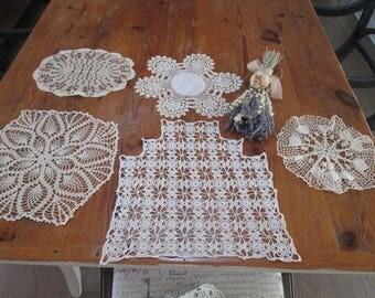 vintage doilies, vintage crochet cream cotton pieces, lot of lace cotton pieces ,shabby chic linens cottage pieces hermina cottage