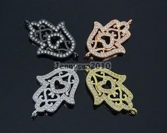 3# Clear Zircon Gemstones Pave Lucky Eye Hamsa Hand Bracelet Connector Charm Beads Silver Gold ...