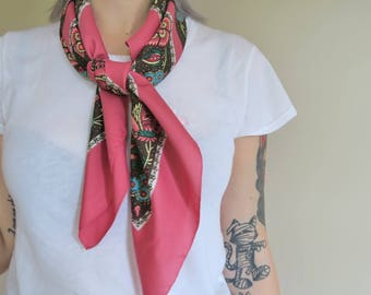 Rose pink vintage scarf, Italian square scarf, 70s scarves, traditional scarves, ladies headscarf, hairwrap,