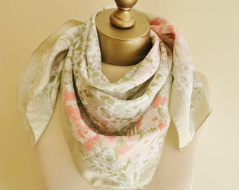 Pastel floral scarf, vintage square scarf, impressionist, watercolor scarf,  70s scarves,  neckerchief, feminine, romantic square scarves,
