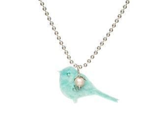 Silver bluebird enamel pendant, silver enamel jewelry, bluebird necklace, bluebird gift for her, jewelry gift for bird lover, 925 silver