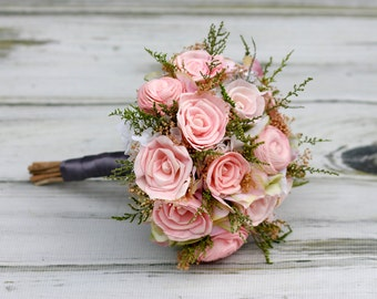 Pink Sola Bouquet and Boutonniere Package,Pink Bouquet,Rose sola bouquet,Pink Boutonniere,Beach wedding,Elegant Bridal Bouquet,sola flowers