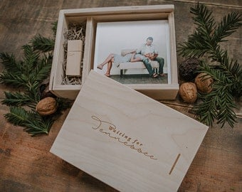 Set of 8 - 5x5 Distressed White Wood Print Box - 16gb USB 3.0 included - engraving included