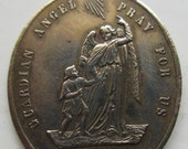 HELD for STEVE ROMAN Beautiful Unusual Vintage Large Brass Guardian Angel/ Congregation of the Holy Child Jesus Medal - circa 1920s