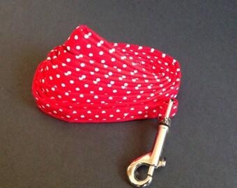 Dog Leash - Red And White Polka Dot