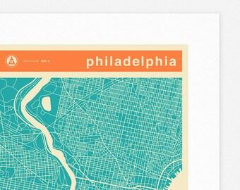 PHILADELPHIA MAP (Giclée Fine Art Print, Photographic Print or Poster Print) colored version