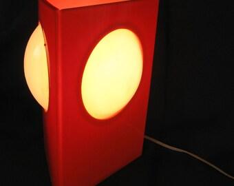 triangular orange lamp with op art mod design, 1960's