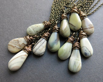 Dainty Boho Necklace - Green Stone Necklace - Jasper Necklace - Teardrop Necklace - Stone Jewelry - Boho Stone Necklace - Stone Pendant