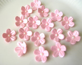24 Pink BLOSSOMS  /   Gum Paste Flowers / Edible Cake Topper and Cupcake Decorations