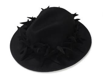 Black Unique Fedora Hat , Felt Hat with Felt Decoration , Women  Fedora Hat , Winter Hat  , Millinery Hand Crafted Hat , Unique Headpiece