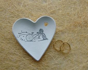 12 Wedding Favors, Couple bike Wedding Heart Dish Favors, Clay Wedding Favors, Ring Bearer Dish