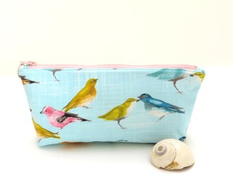 Blue zipper bag, bird zipper pouch, blue makeup bag, padded zipper bag, travel pouch, womens bag, blue pencil bag, bird print bag