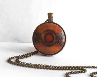 Big Brown OOAK Pendant, Hand Painted Necklace, Art Jewelry, Tribal Pendant, Small Acrylic Painting Jewelry, Handmade Jewelry