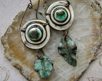 Assemblage earrings with forged leaves and artisan ceramic connectors, verdigris patina, mixed metal jewelry, metal leaves, Anvil Artifacts