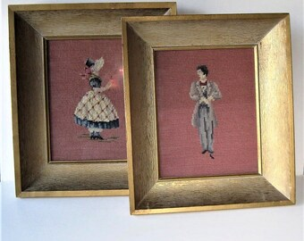 """2 framed vintage framed needlepoint figures,  12"""" x 14"""", shadowbox wood frames, hand stitched wall hangings, Mid Century style , gift idea"""