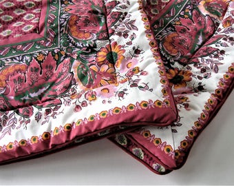 """Pair of 1990's Pierre Deux pillow shams, vintage bedding, 31"""" x 24"""", raspberry Province design, French Country linens, gift idea"""