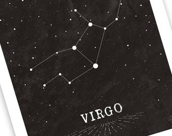 Virgo Constellation Print - White Design on Chalkboard Style Bkgd• For Him or Her • Choose 8x10 or 11x14