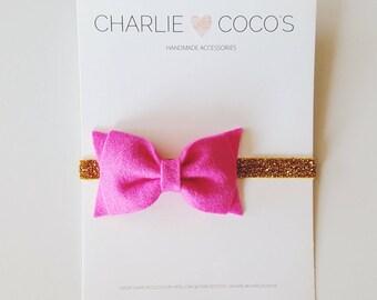 Baby/Girls Felt Bow Headband-Fuchsia Felt Hair Bow, Gold Glitter Headband,Bright Pink Baby Felt Bow Glitter Headband by charlie cocos