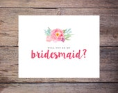 Printable Floral Will You Be My Bridesmaid Card - Pink – Instant Download Greeting Card - Will You Be My Bridesmaid - Wedding Card – Larson