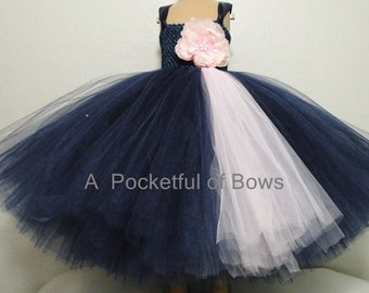 Navy Flower Girl Dress, Navy and Pink Tulle Dress, Navy Tulle Dress, Girls Formal Dress