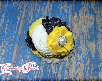 Navy, Yellow, White Hair Piece, Yellow, Navy Blue Headband, Hair Clip, Dark Blue, Mustard Hair Accessory, Fabric Flower Hair Accessories