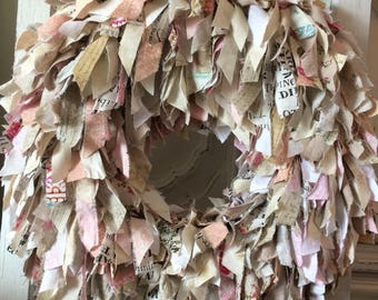 Shabby Chic Fabric Strip Wreath