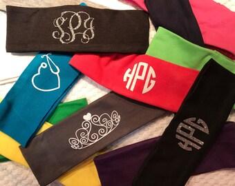 Glitter Monogrammed Headbands - Vinyl Monograms - Headbands - Monogram Headwraps - Monogram Hair Accessories - Vine Monograms - Headwear