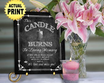 PRINTED chalkboard wedding memorial sign - In loving memory this candle burns , Memorial wedding sign, wedding signage, in memory of sign