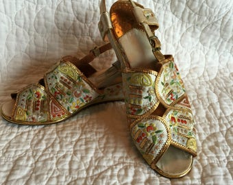 40s Embroidered Satin Wedge Sandals