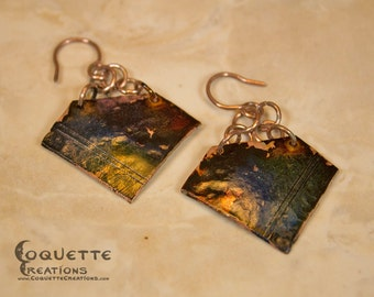 Multicolor Hammered Copper Earrings