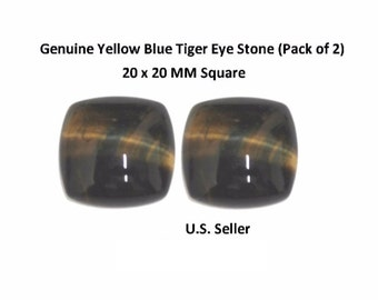 100% Natural Yellow Blue Tiger Eye Cabochon 20 x 20 MM Square Cushion (Pack of 2)