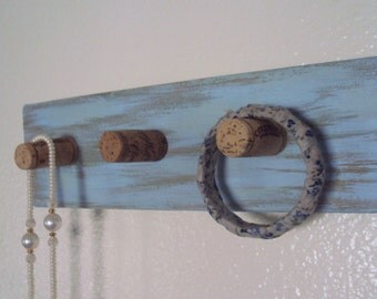 Wood Wine Cork Hat Rack - Rustic Chic Scarf Rack - Jewelry Display Organizer - Cottage Chic Towel Rack - Shabby Blue/Green Wooden Wall Rack