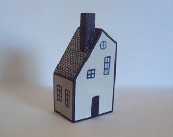 Miniature Folk Art House - Tiny Folk Figurine - Little Wooden Village Cottage - Decorative Wood Houses - Handpainted Minimalist Decor