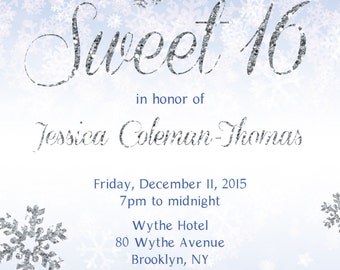 Winter Themed Sweet 16 Invitation (Printable Digital File)