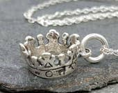 Crown Necklace - 925 Sterling Silver - Royal England King Queen - New