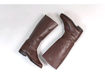 Vtg Equestrian Boots brown leather fr37 us6