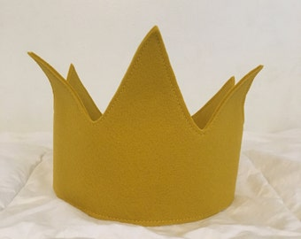 Gold Wool Blend Felt Crown - Adjustable with Elastic Back - Ready to Ship