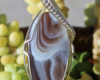 Botswana Agate Stone Pendant, Argentium Sterling Silver Wire Wrapped Heart Handmade Jewelry Brown and White Stone Necklace