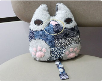 Cat Pillow - Stuffed Cat, Whimsical Cat, Decorative Cat Pillow