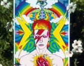 RainBowie Art Print- Psychedelic Rainbow Bowie Original Art - PSYCHIC HIGHERSELF THIRDEYE