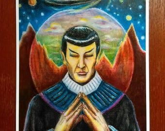 Saint Spock- Star Trek Inspired Original Art Portrait of Spock Meditating on Vulcan-  Meditation Sci Fi Geek Decor Trekkie Gift