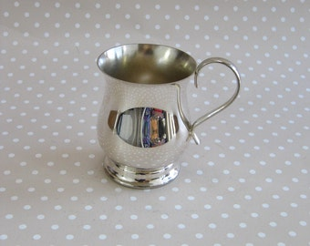 Vintage Small Silver Colour Metal Christening Mug