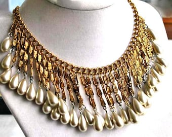 Pearl Drops Cascade Necklace, Textured Golden Brasstone Bib Choker, Faux Teardrop Pearls Vintage Fringe Collar, Theater Costume Wear