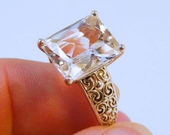 STERLING Silver WHITE BERYL Ring