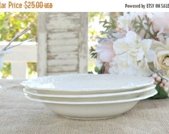 On Sale Vintage Canonsburg White Coupe Soup Bowls, Set of 3, Tea Party, Whiteware, Creamware, Shabby Chic, Cottage Style, Ca. 1940's