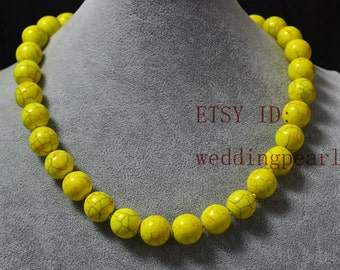 14mm large yellow turquoise necklace,single strand yellow bead necklace,man-made turquoise bead,wedding jewelry,statement necklace