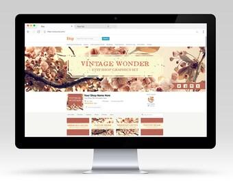 SALE Vintage Wonder OOAK Shop Graphic Set | Premade & Customizable for your Business | Shop Branding Antiqued Floral Photo Design